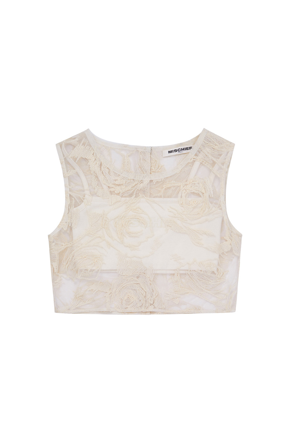 LACE CHIFFON SLEEVELESS/CAMISOLE SET_cream