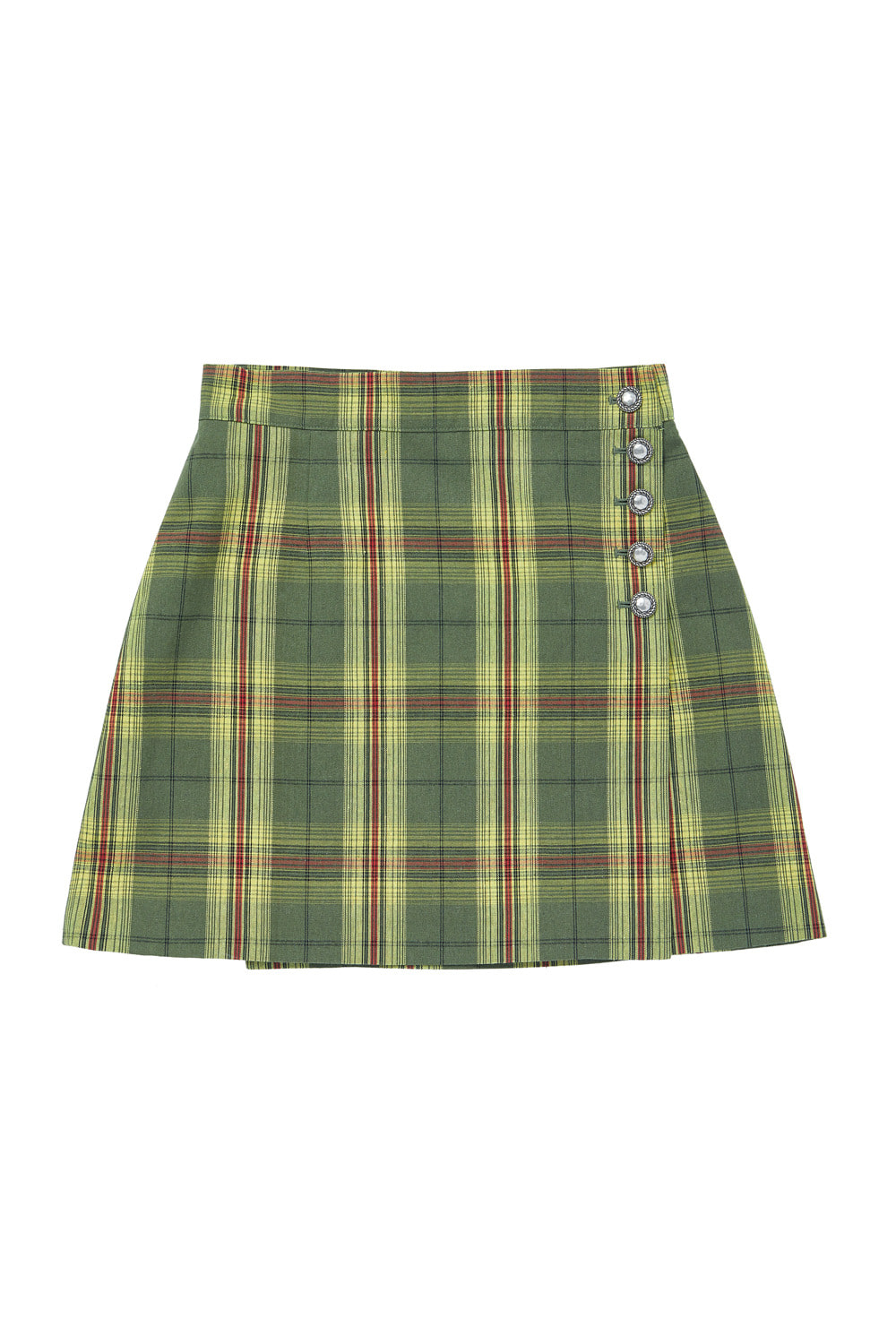 CHECK WRAP BUTTON SKIRT_yellow/green