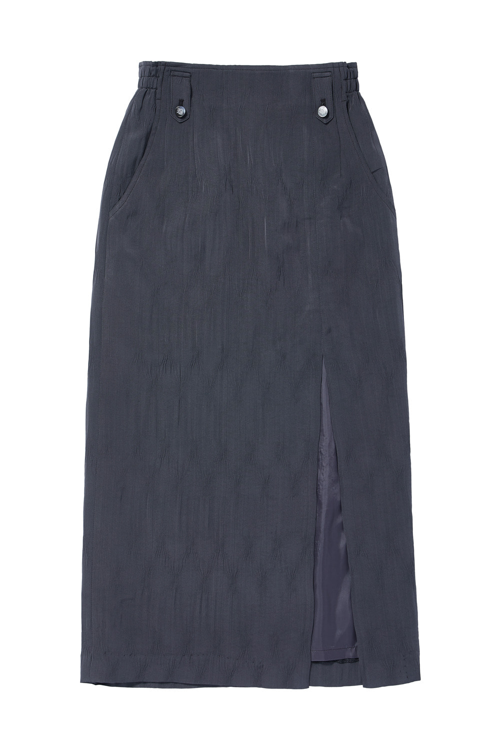 TWO-TONE CRINKLE LONG SKIRT_dark gray