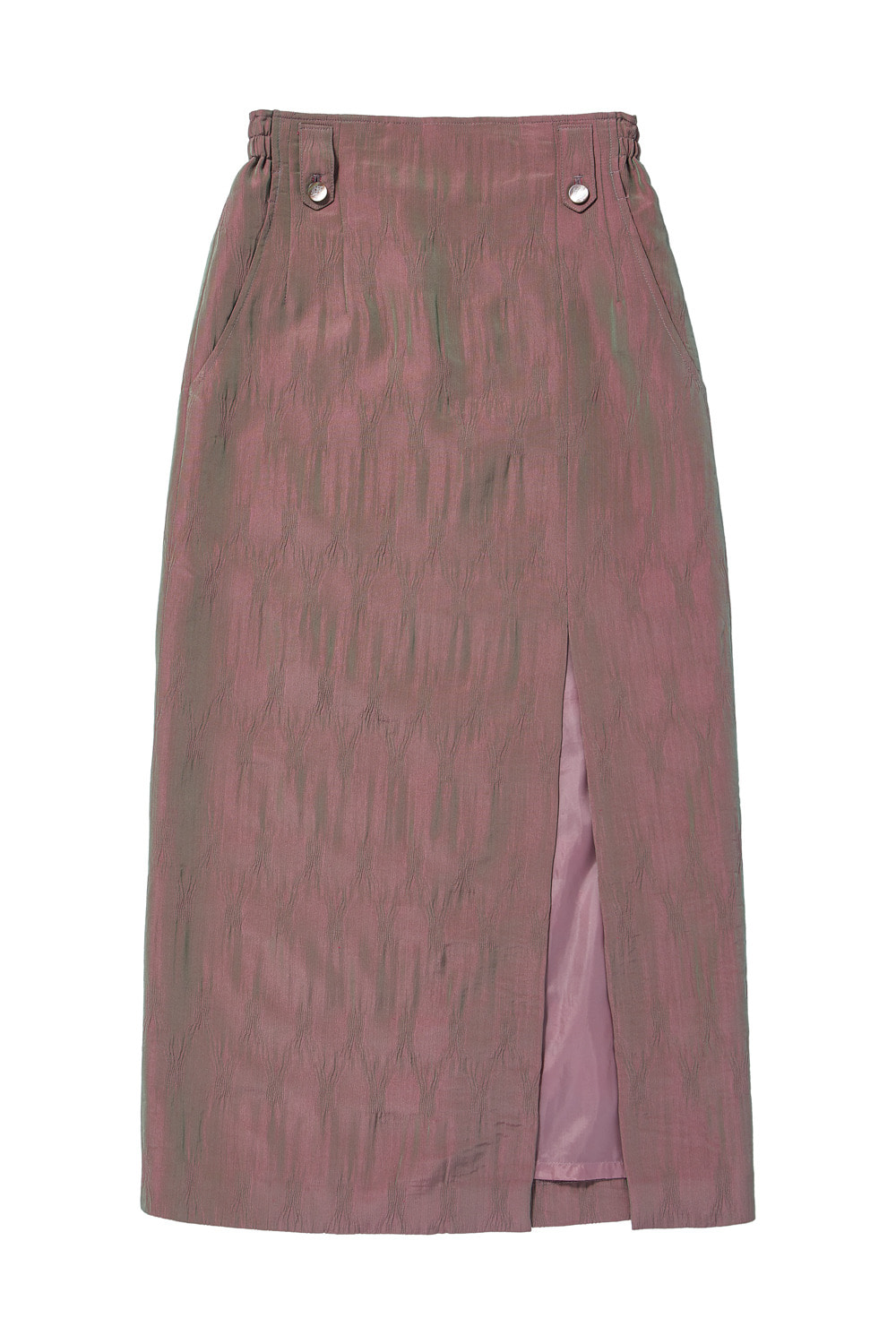 TWO-TONE CRINKLE LONG SKIRT_pink/green