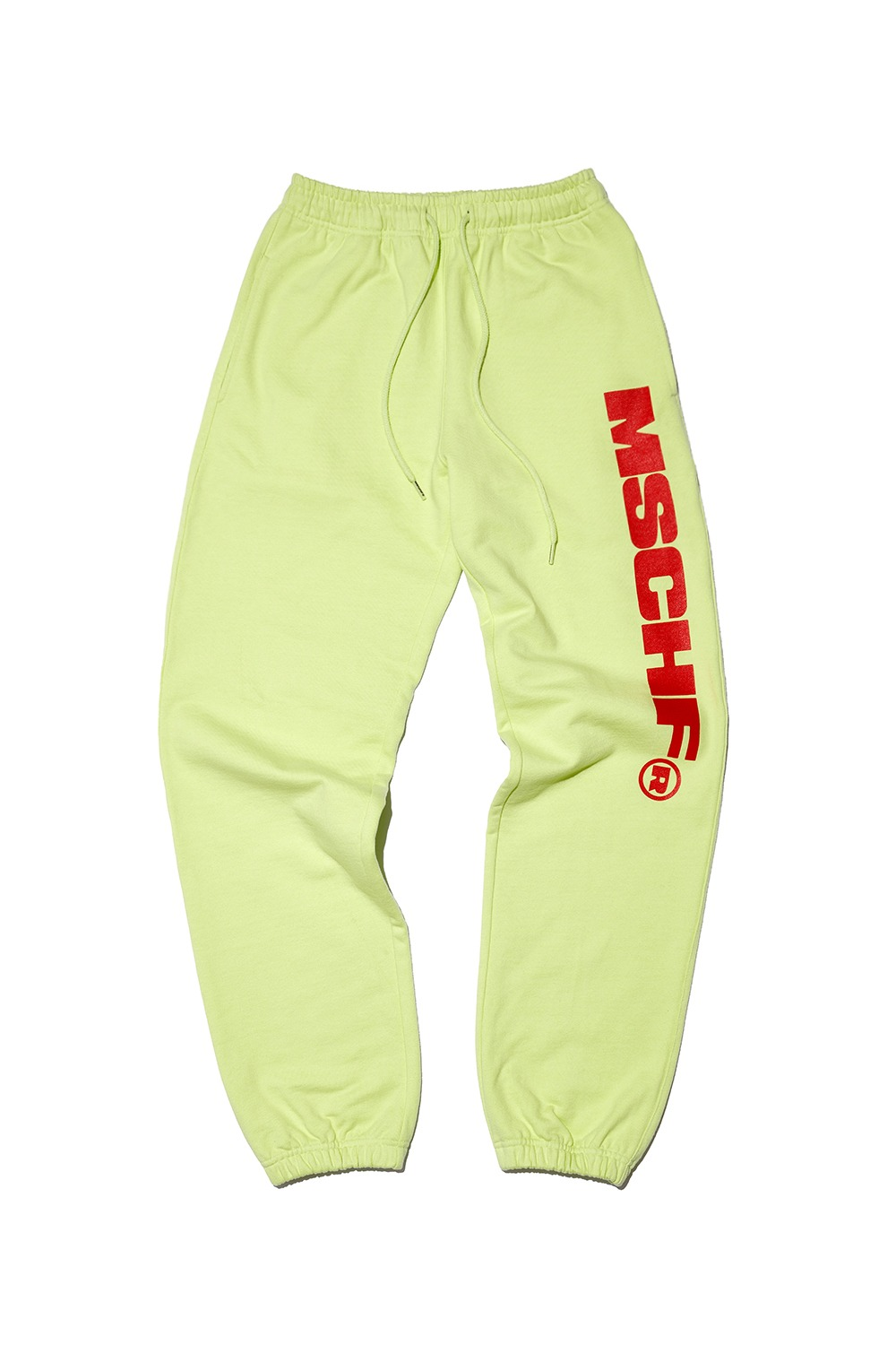 MSCHF SWEAT PANTS_lime cream/red