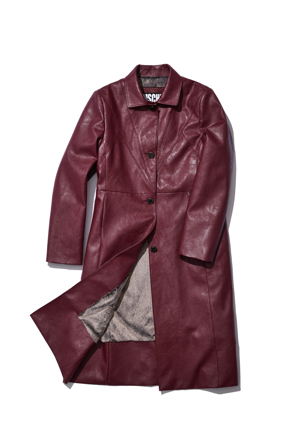 RETRO METRO FAUX LEATHER COAT_burgundy