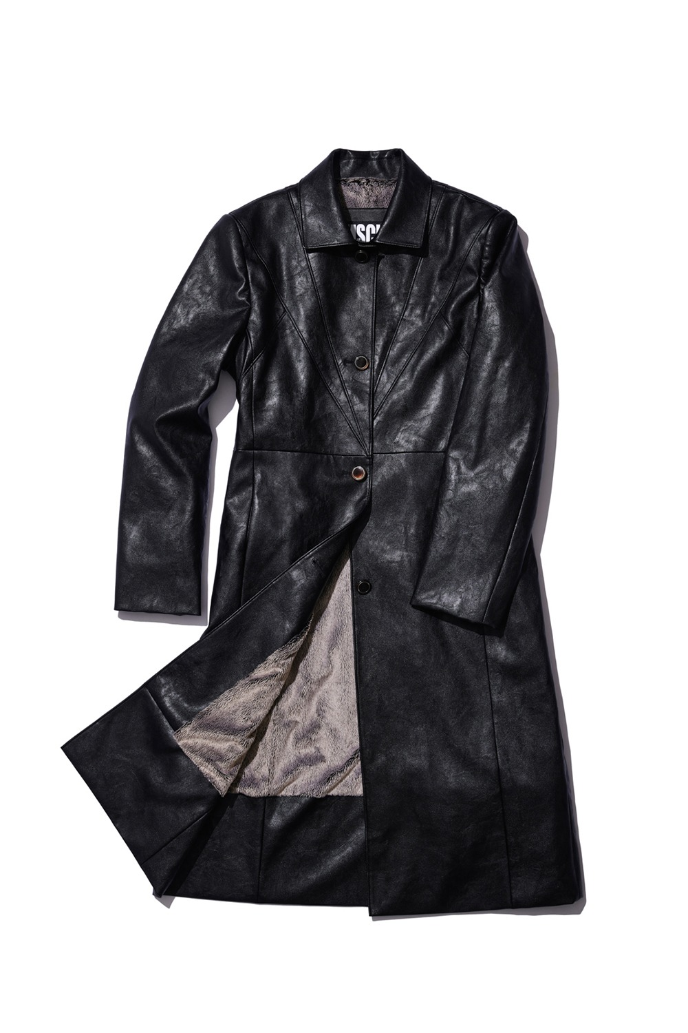 RETRO METRO FAUX LEATHER COAT_black