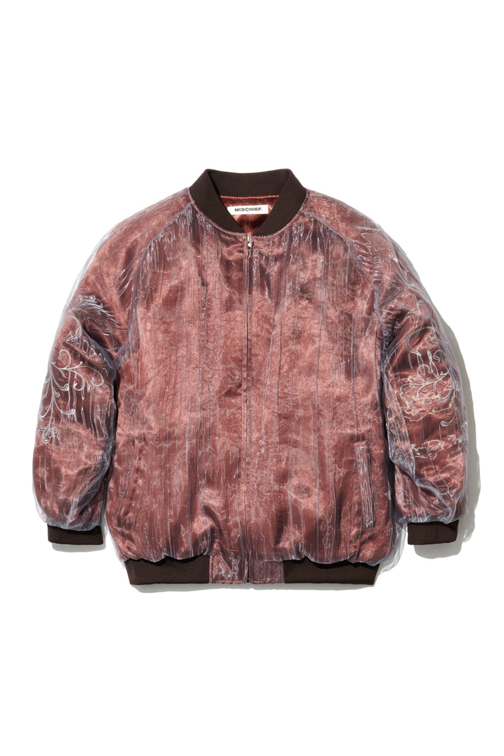 PROJECT MAGO_ORGANZA LAYERED BOMBER JACKET_RED BROWN