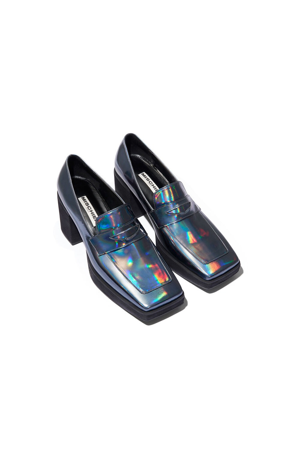 PROJECT MAGO_HOLOGRAPHIC PENNY LOAFER HEELS_STONE BLUE