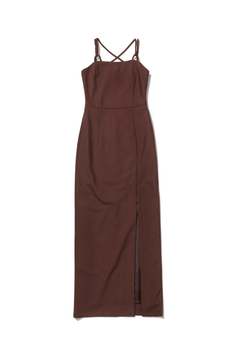 PROJECT MAGO_TAILORED STRAP DRESS_BROWN
