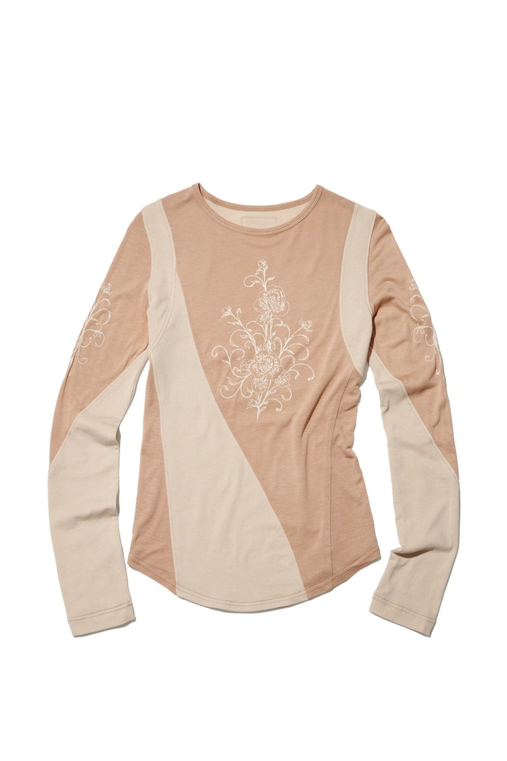 PROJECT MAGO_ORCHID COLOR-BLOCKED JERSEY TOP_BEIGE